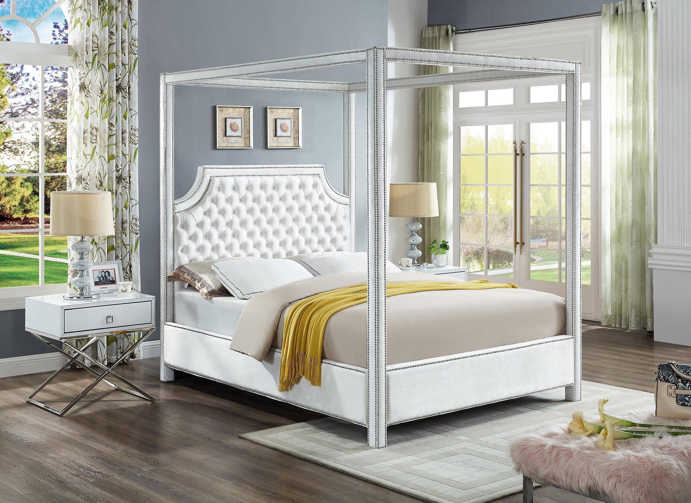 Buy Meridian Rowan Lynn Queen Canopy Bedroom Set 3 Pcs In White Velvet Online