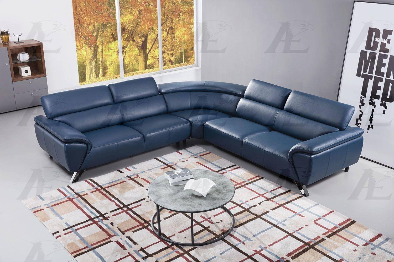 american eagle ek l8002m nb sectional sofa 3 pcs in navy blue top grain leather