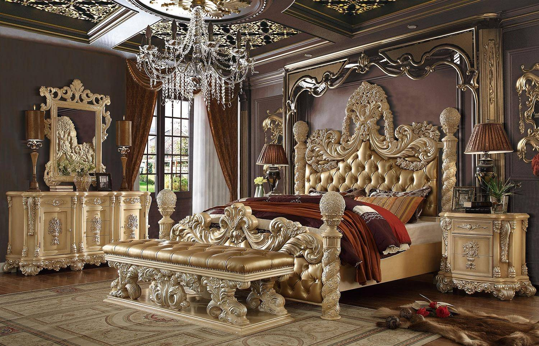 homey design hd 7266 ckbd set california king panel bedroom set 5 pcs in gold khaki leather