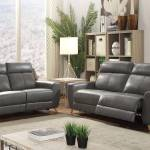 Acme Cayden 54200 Recliner Sofa Set 2 Pcs In Gray Faux Leather