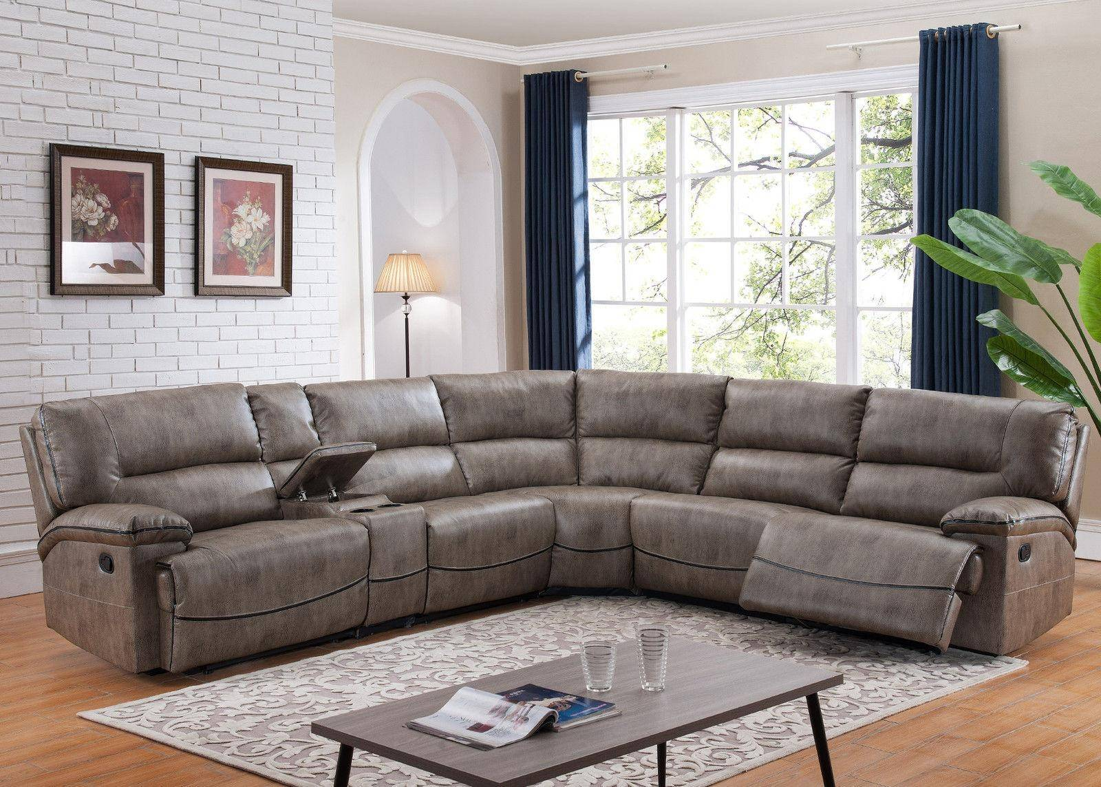 ac pacific donovan reclining sectional 6 pcs in gray fabric