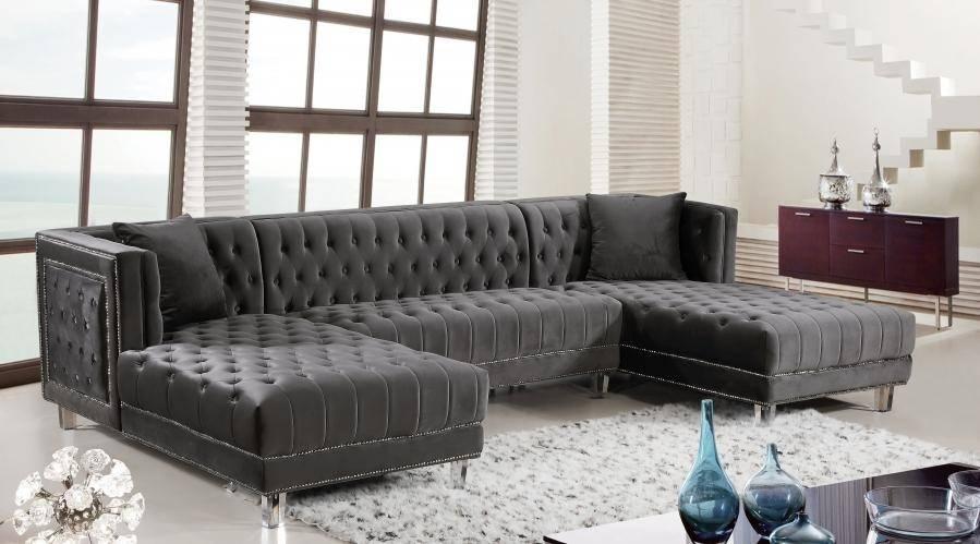 meridian moda sectional sofa in gray velvet