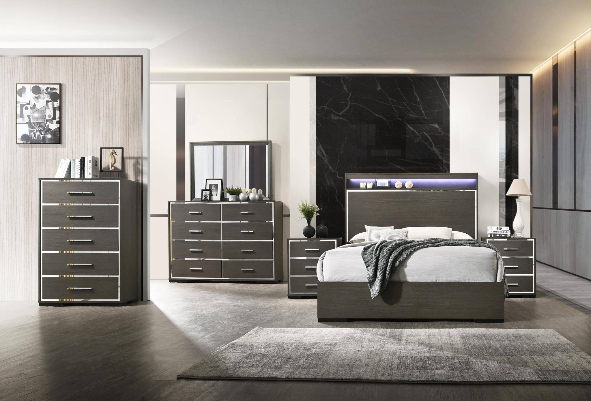 acme escher 27647ek king platform bedroom set 5 pcs in grey oak
