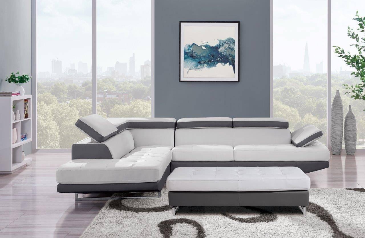 global furniture u8137n sectional sofa set 2 pcs in dark gray light gray bonded leather