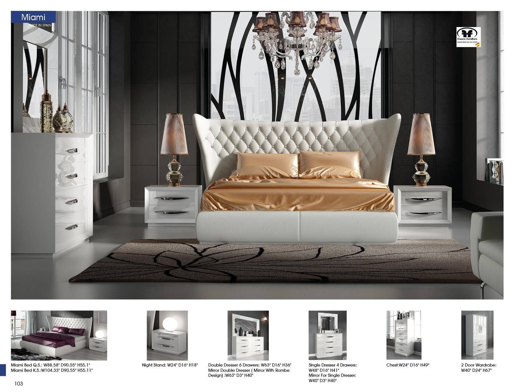 esf miami carmen queen platform bedroom set 5 pcs in white eco leather