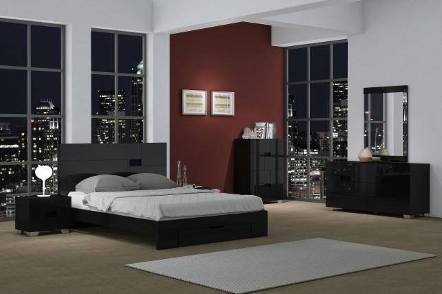 global united aria queen storage bedroom set 3 pcs in black lacquer