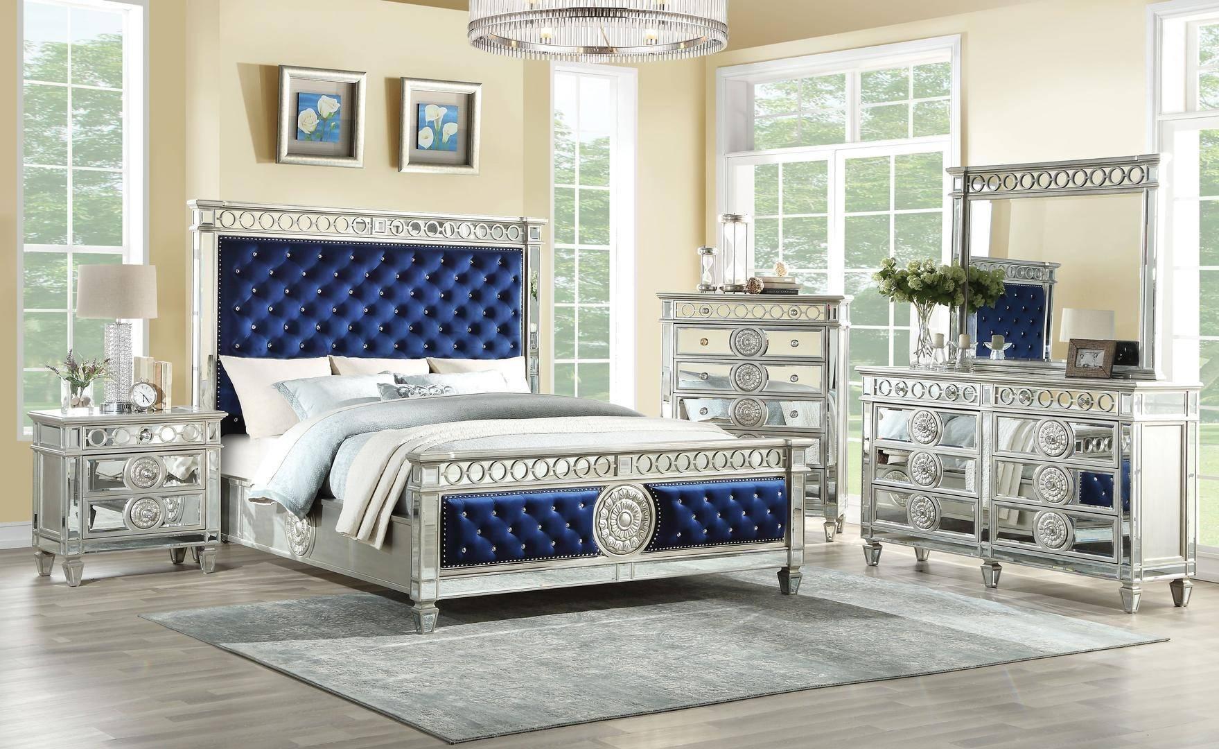 acme varian queen panel bedroom set 5 pcs in blue silver mirrored velvet