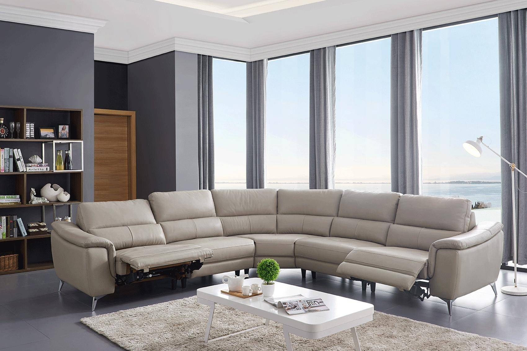 esf 951 reclining sectional in light gray top grain leather