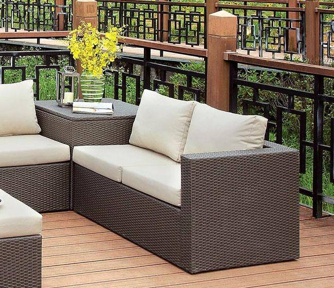 furniture of america davina outdoor sectional 6 pcs in brown faux wicker