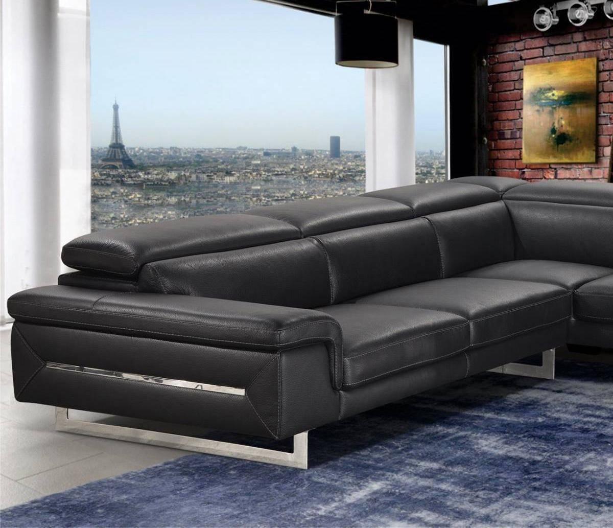 vig accenti italia lazio sectional sofa left hand chase in black italian leather