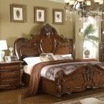 Buy Mcferran B7189 King Panel Bedroom Set 3 Pcs In Cherry Oak Wood Solid Hardwood Online