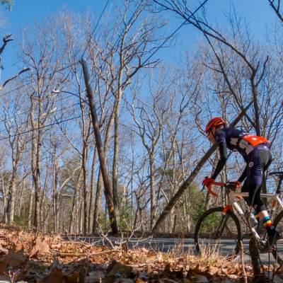 Bicyclist attacking a short climb