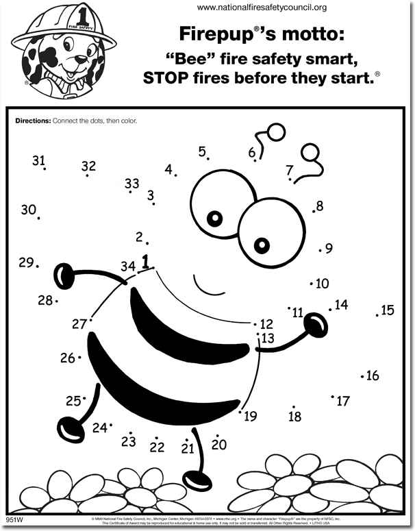 951FW: 'Bee' Fire Safety Smart! Color / Activity Sheet