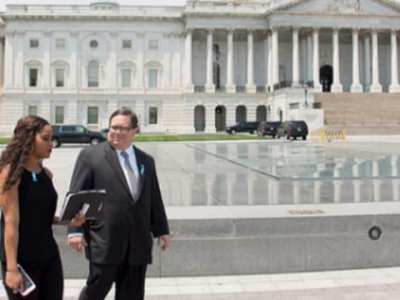 Student Walks with Rep. Farenthold in Front of the Capitol Building on Shadow Day (1)