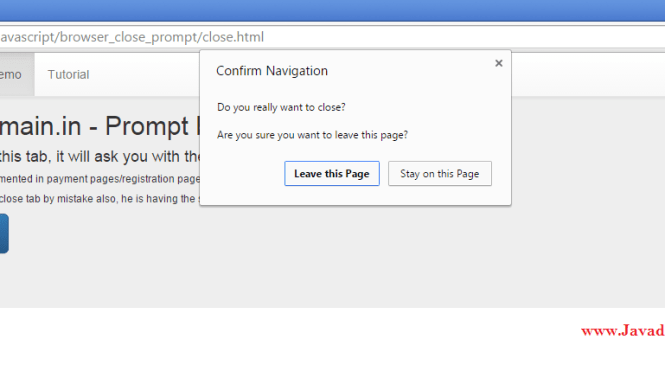 Prompt before closing the browser tab example