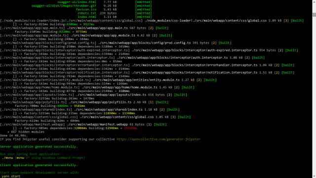 Generate angular + Java code using yeoman & Jhipster