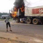 Dangote truck set ablaze