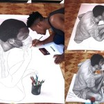 Nigerian artist goes viral after making life-like drawing with pencil (Photos)