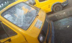 Some damaged vehicles at Oshodi Clash