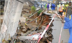 PHOTOS Flood Damages Osun Govt House Fence Washes Away Motorcyclist