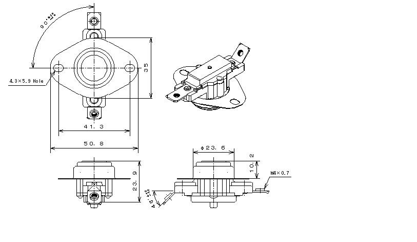 Type43M Phenol Case|バイメタルサーモスタットの日本GT株式会社