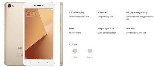Xiaomi Redmi Note 5A smartphone