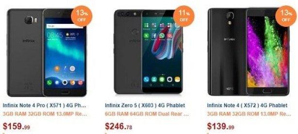 Infinix smartphones on Gearbest