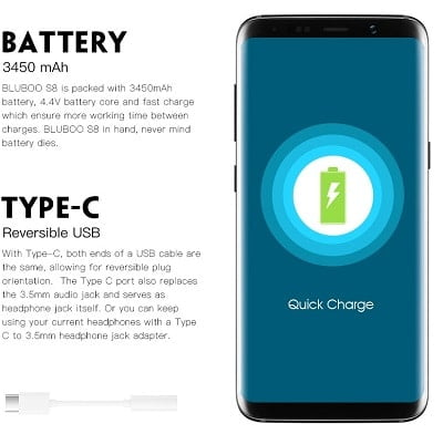 Bluboo S8 battery features