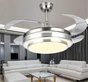 Retractable Blade Hidden Ceiling Fans Pendant LED Lights & Remote Light Fixtures