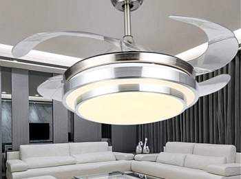 Retractable Blade Hidden Ceiling Fans Pendant LED Lights & Remote Light Fixtures