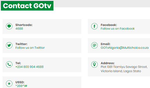 GOtv customer care support emails and phone number