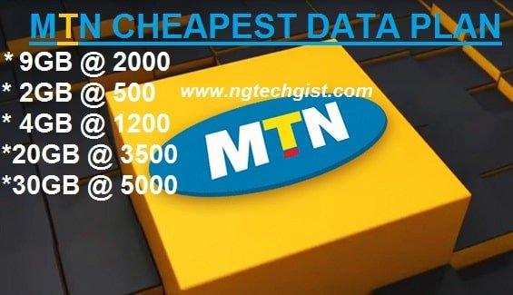 MTN Cheapest Data plans 2021