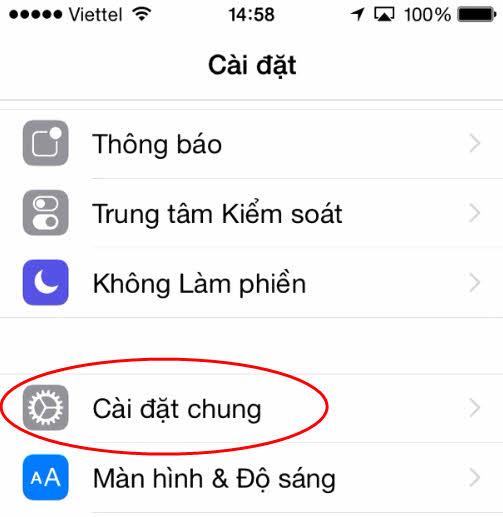 Cài đặt chung trên iPhone
