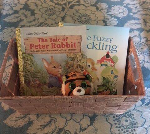 Kids Corner Basket Books & Stuffed Tiger