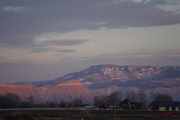 Mt Garfield & Grand Mesa at Sunset near Grand Junction, CO