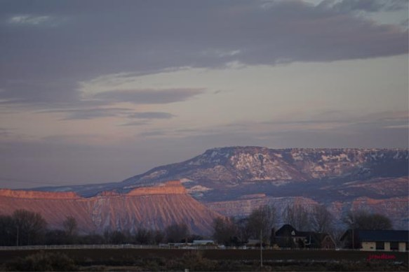 Mt Garfield & Grand Mesa at Sunset near Grand Junction, CO