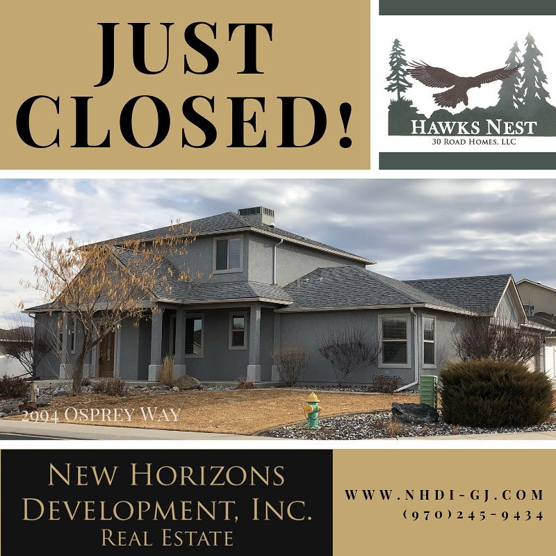 Another home has closed! Welcome to the neighborhood! #justsold #homesold #grandjunctionrealestate #hawksnestsubdivision #nhdi