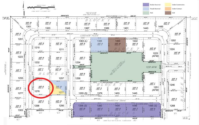 Adobe Falls Sub Filing 2 plat - 1276 Fairway Drive is circled