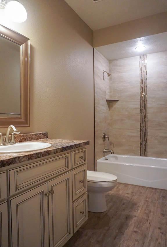 Hall Bath - full bath with in-tub shower, toilet, & storage vanity with sink.