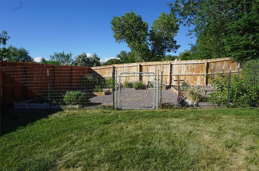Fenced garden area with raised beds