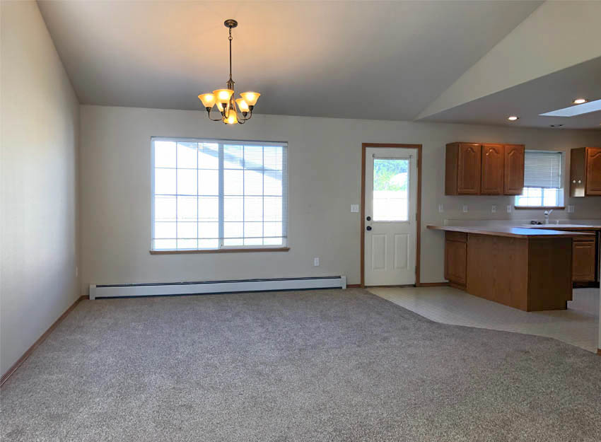 Dining room of 653 Fenton has access to the back yard.