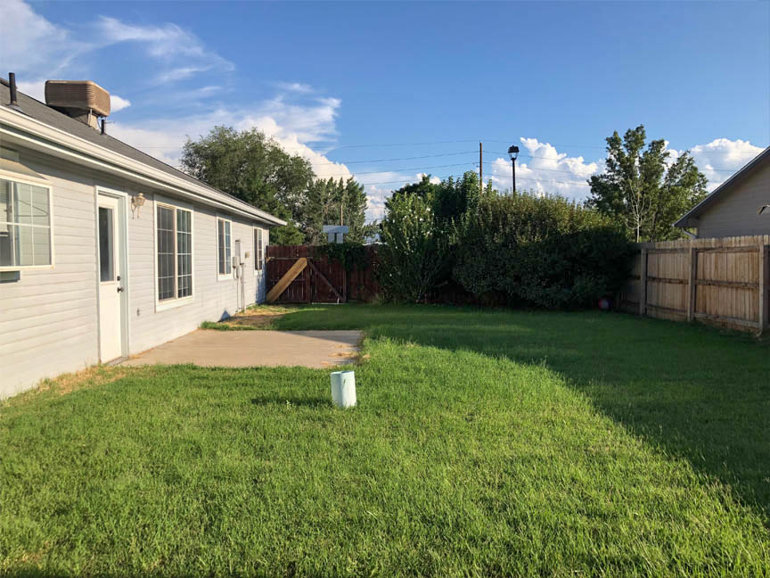 back yard of 653 Fenton with mature landscaping