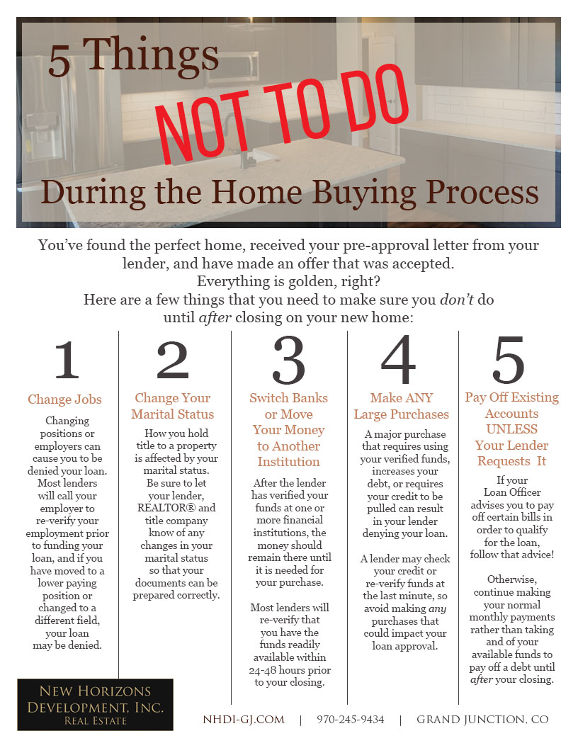 Home Buyer Tips - What NOT To Do once you have loan approval. These tips brought to you by NHDI.