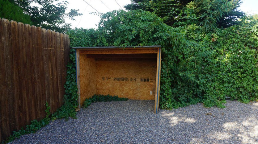 wood shed in the back yard of 535 Oriole
