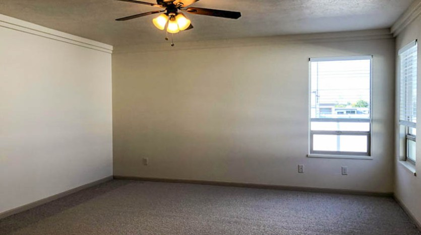 The Master Suite has corner windows looking at the back yard, a lighted ceiling fan, patio access, a 5-piece bath with corner soaking tub, and a walk-in closet.