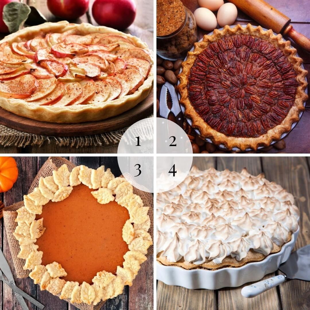 Happy Thanksgiving! We hope that you are enjoying the day with your loved ones.  But we are all curious… what is your favorite pie on Thanksgiving?  1 – Fruit 2 – Pecan 3 – Pumpkin 4 – Cream or Meringue  Share your favorite kind of pie with us in the comments below.  Janet loves berry pie, and Jennifer prefers pumpkin.