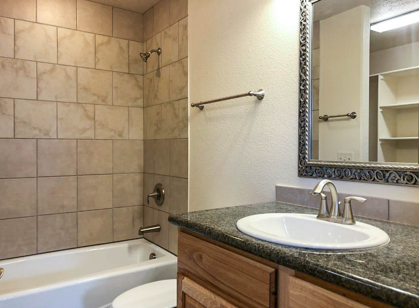 The master bath has an in-tub shower, toilet, and storage vanity with a granite countertop. The walk-in closet is located off of the bath.