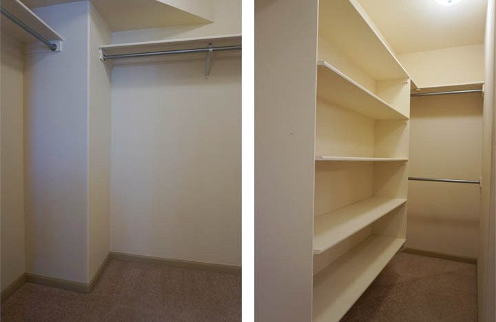 The walk-in closet has both shelving and hanging space.