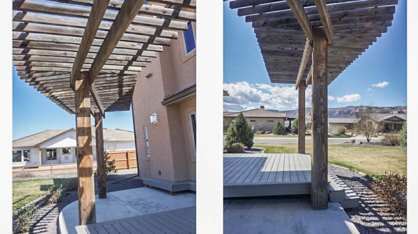 Rough-hewn cedar pergola at the west edge of the back patio of 1485 Adobe Falls Way.