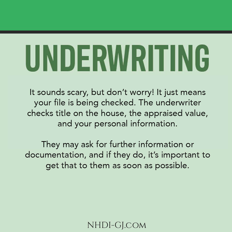 Underwriting is when the lender's underwriter looks over the file and verifies that everything is correct for your loan approval.